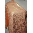 Bavlna s elastanem losos barva se zlatým vzorem