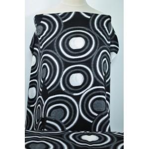 Úplet černobílé kruhy - Látky Král - Látky metráž e5df037a89d