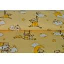 Medvídci na žluté vaflové bavlně