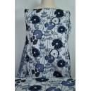 Žakárová kostýmová látka s modrým a černým květem