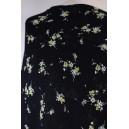 Šifón černý žlutý květ